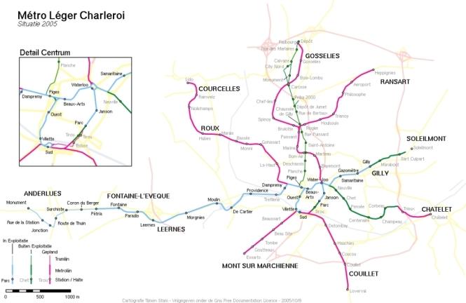 Карта метро Антверпена.  Карта города Шарлеруа.